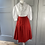 Thumbnail: Vintage Red wool pleated skirt UK12/14
