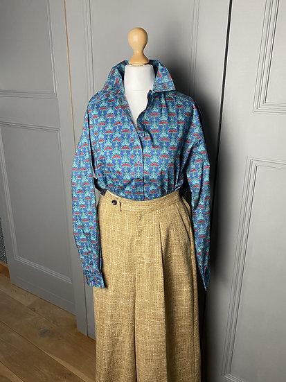 Vintage (NEW) Liberty blue/green cotton shirt UK8-12