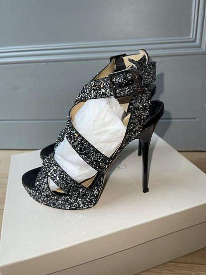 Jimmy Choo black glitter platform sandals size 35.5