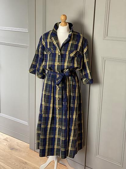 Vintage 80 Lodenfrey checked cotton shirt dress. Uk12-16