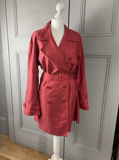 Jaeger pink silky trench coat. Large