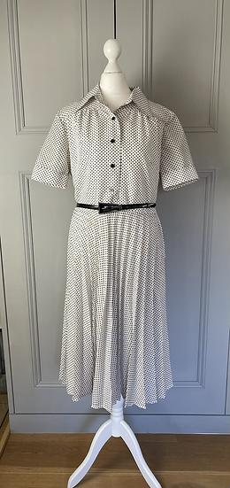 Vintage polka dot dress with belt UK10