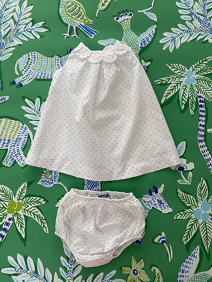 GIRLS 6mths Jacadi Paris white/navy spots dress with bloomers