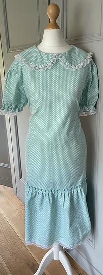 Vintage mint/white midi dress UK 12