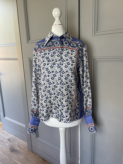 Chloe cornflower blue patterned silk blouse. Uk8/10. Rep£985