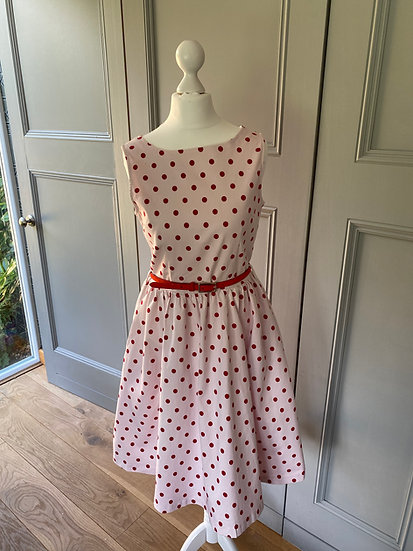 REDUCED>>>>>Vintage style 50s light pink with red polka dot dress (UK10-12)
