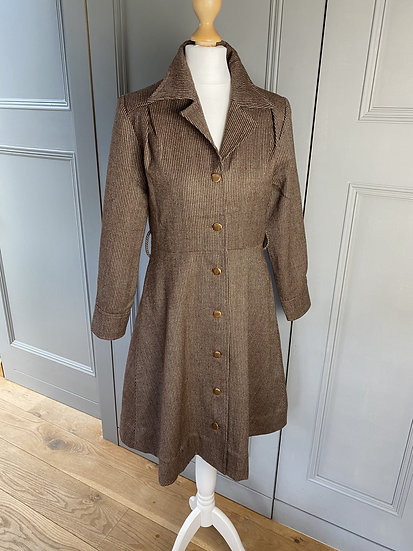 Vintage 70s brown tweed midi dress UK, excellent condition UK6-8