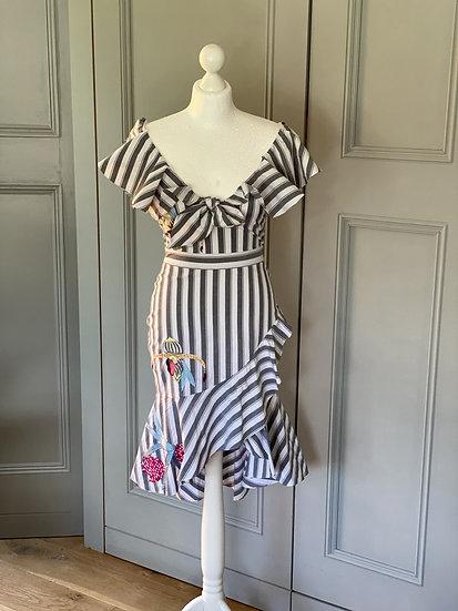 Temperley London Bella ruffle embroidered dress Uk8