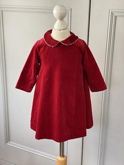 Burberry red velvet dress 12-24mths