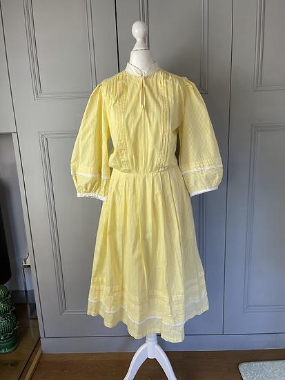Vintage yellow and white stripes cotton midi dress UK12