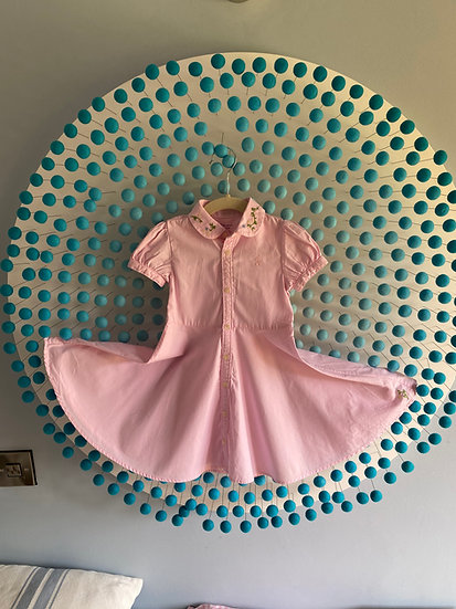 Girls cotton pink embroidered dress ( 18 months)