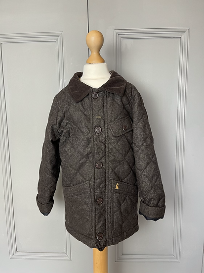 Boys Joules brown quilted coat age 6 rrp£49