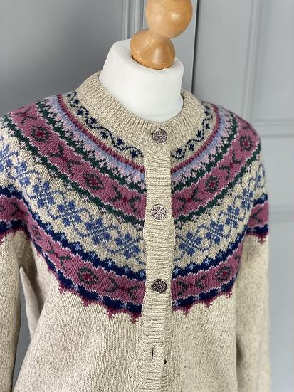 Vintage wool pastel fair isle cardigan. Uk10/12