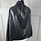 Thumbnail: Jaeger black shiny ruffle neck jacket. Uk16