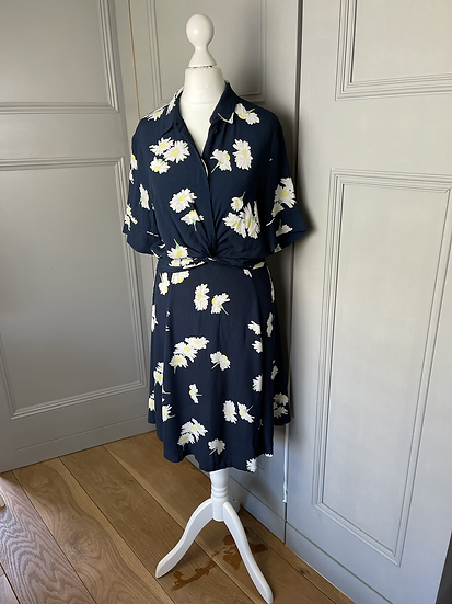 Ganni navy crepe tea dress  UK10 rrp£245