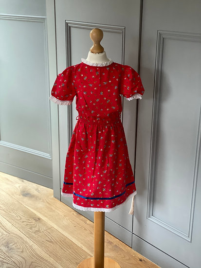 Girls vintage red ditsy dress with trim age 3/4/5 yrs