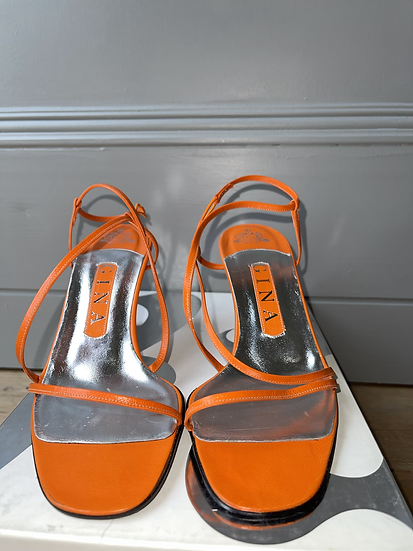 Gina ornage leather sandals-  size 36