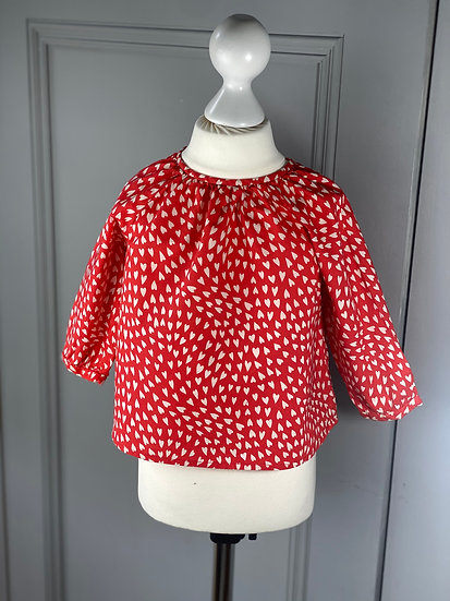 Bonpoint girls cotton red shirt with white hearts. 18mths