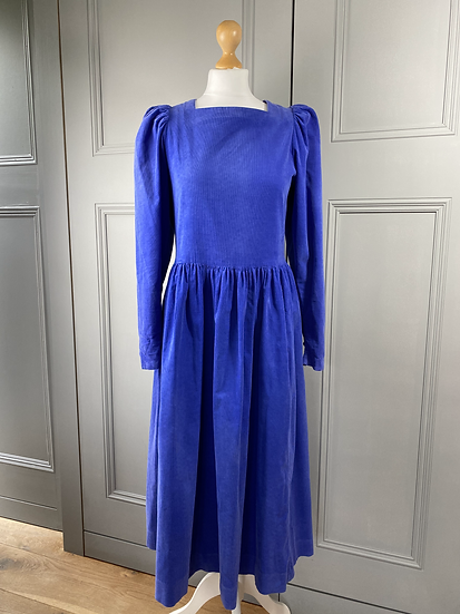 Vintage Laura Ashley needlecord blue dress UK10/12