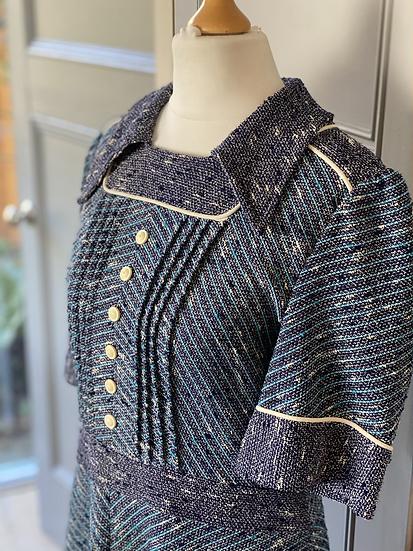 Vintage 50s ladies blue tweed style dress. Uk10