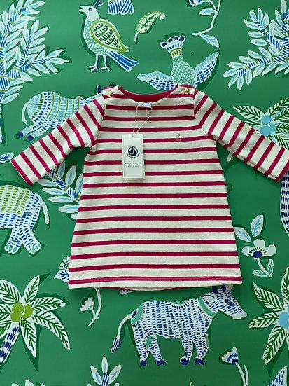 GIRLS Petit Bateau 6m pink/cream striped nautical dress
