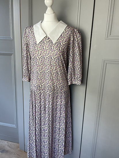 Vintage 80s multi coloured paisley dress UK 12