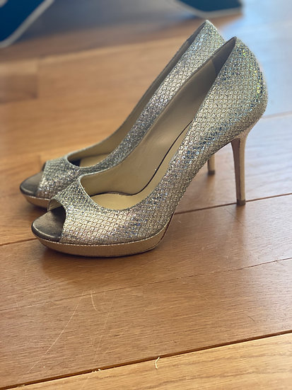 Women's Jimmy Choo gold platform heels (40.5)
