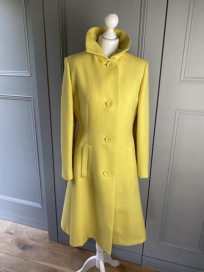 Vintage Aquascutum for Harrods (70s) yellow wool coat UK10-12