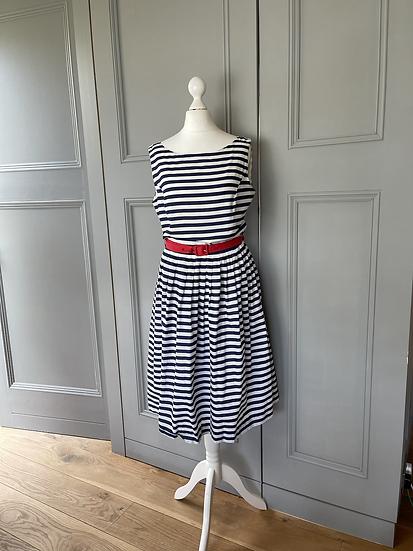 Rachel Riley navy/white cotton striped dress. Uk 10