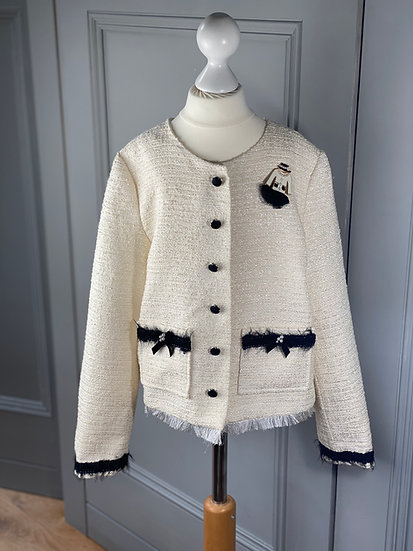 Girls LESY tweed jacket with brooch 10 yrs (rrp £275)
