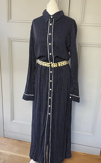 Vintage navy/white cotton maxi with yellow fabric belt. Uk