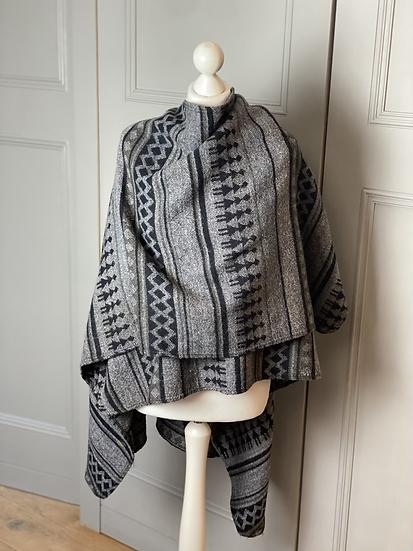 Vintage Grey and black poncho/wrap