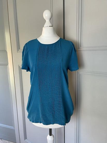 BNWT Zara women's Teal silk top Uk XS