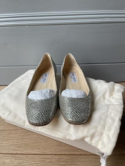 Jimmy Choo gold coatse glitter flats size 35.5 rrp£494
