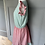 Thumbnail: Vintage green/red/ white striped dress UK8
