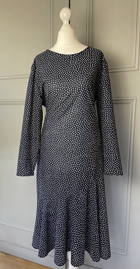 Vintage navy and white polka dot dress. Uk14+
