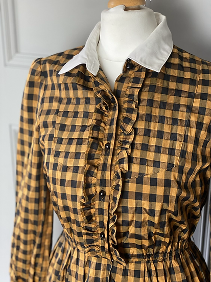 Vintage checked shirt dress with ruffle. Uk6/8/10