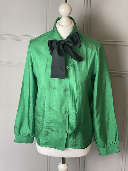 Vintage green silky feel blouse with black bow. Uk12