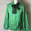 Thumbnail: Vintage green silky feel blouse with black bow. Uk12