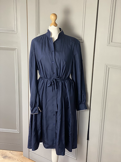 Vintage Chatlotte Ford navy cotton shirt dress with belt.