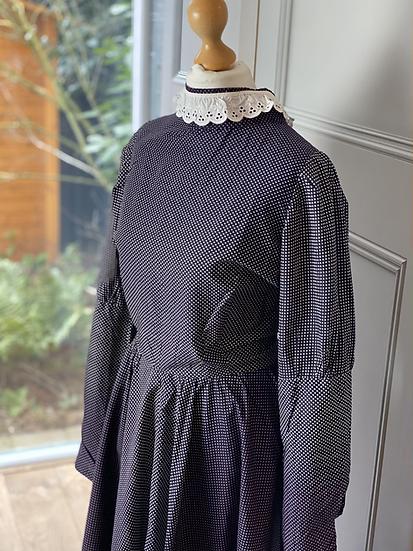 Vintage cotton dress navy/purple with white polka dot. Uk10/12