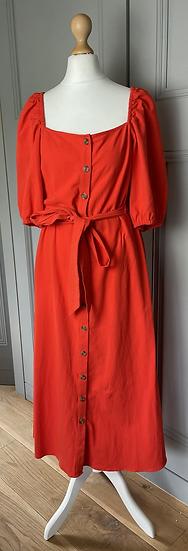 Red H&M maxi prairie stye dress Uk10