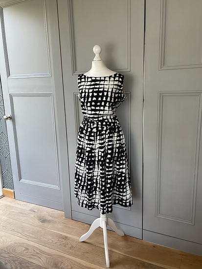 Rachel Riley black/white cotton 50s style dress Uk 12