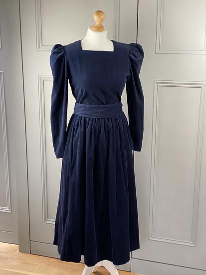 Laura Ashley navy needlecord dress with belt Uk10/12