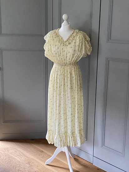 Vintage 70s silky cotton tea dress Uk 8-14