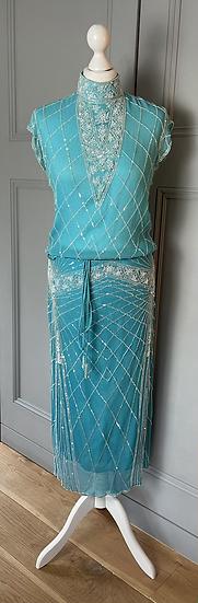 Temperley Teal beaded skirt and top set Uk10/12