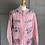Thumbnail: Vintage pink cotton/wool blend floral cardigan uk 12-16