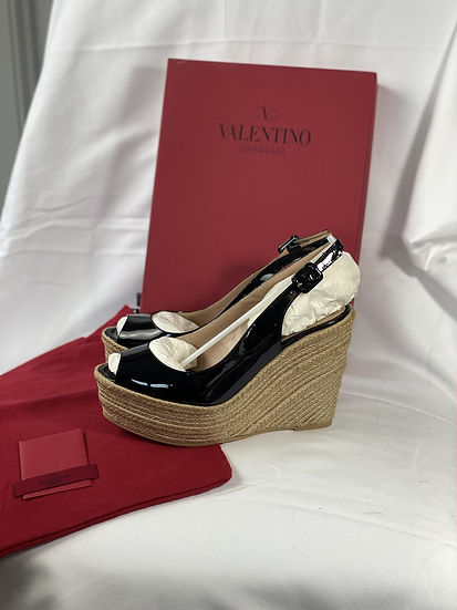 Valentino BNWT black patent wedges. 39/uk6