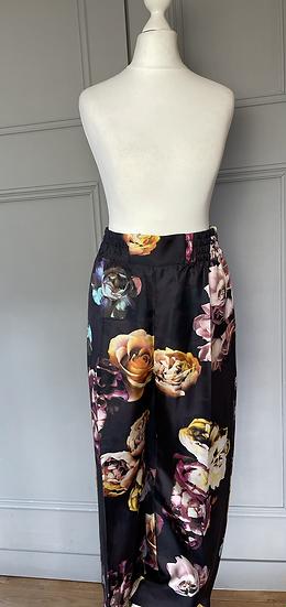Max Mara Black floral silk trousers.UK12 Rrp£340