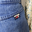 Thumbnail: Vintage denim mini skirt with lace detailing. UK6/8/10